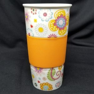 BRIGHT FLORAL PATTERN TALL COFFEE/DRINK TUMBLER